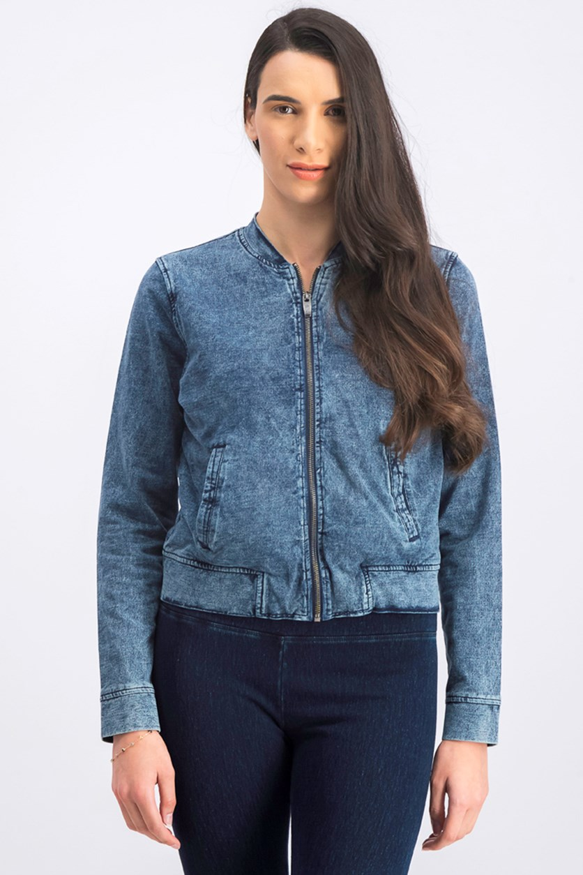 Women's Long Sleeve Jacket, Dark Wash