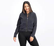 Women's Stripe-Trimmed Bomber Jacket, Black