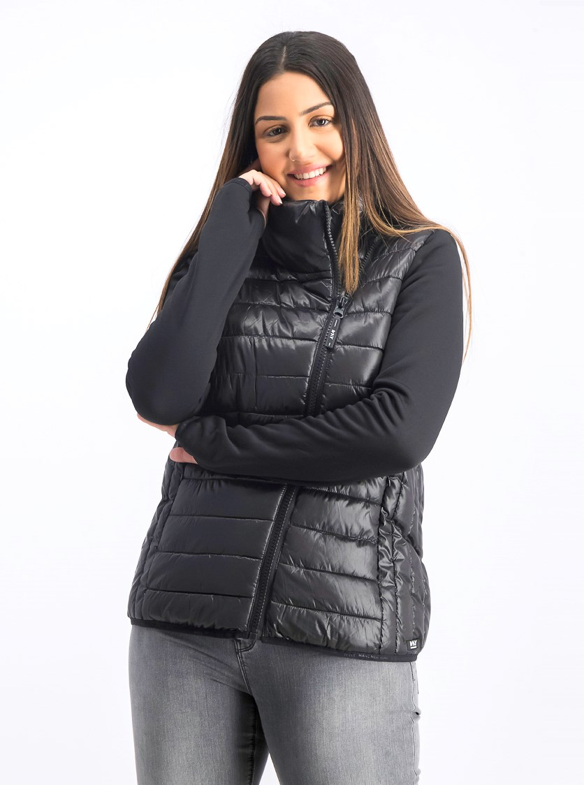 Women's Knit Sleeve Packable Puffer Jacket, Black