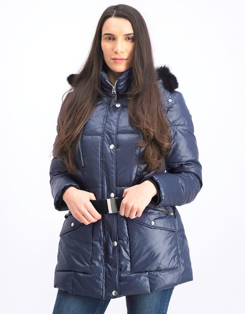 Women's Removable Hood Coat, Navy