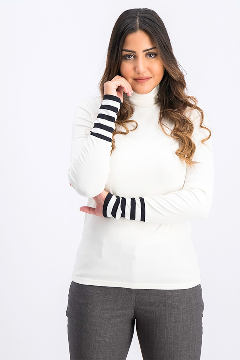 Women's Striped Cuffs Long Sleeve Turtle Neck Top, Ivory