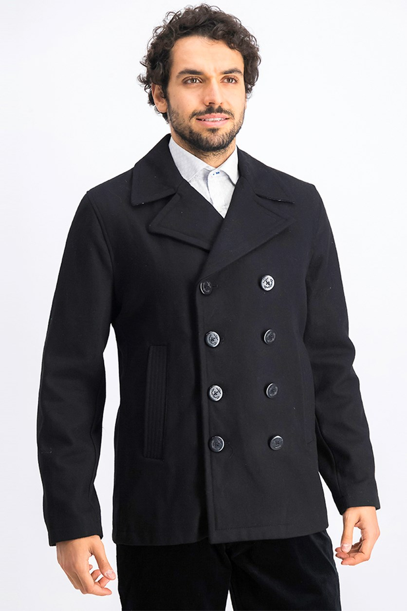 Men's Wool-Blend Trench Coat, Black