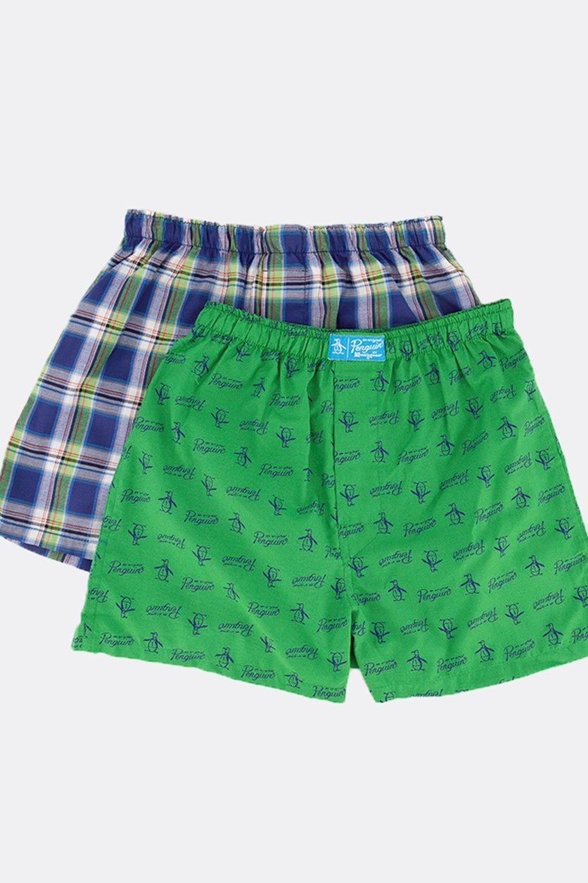Kids Boy's 2 pack Woven Boxer, Green/Blue Stripe
