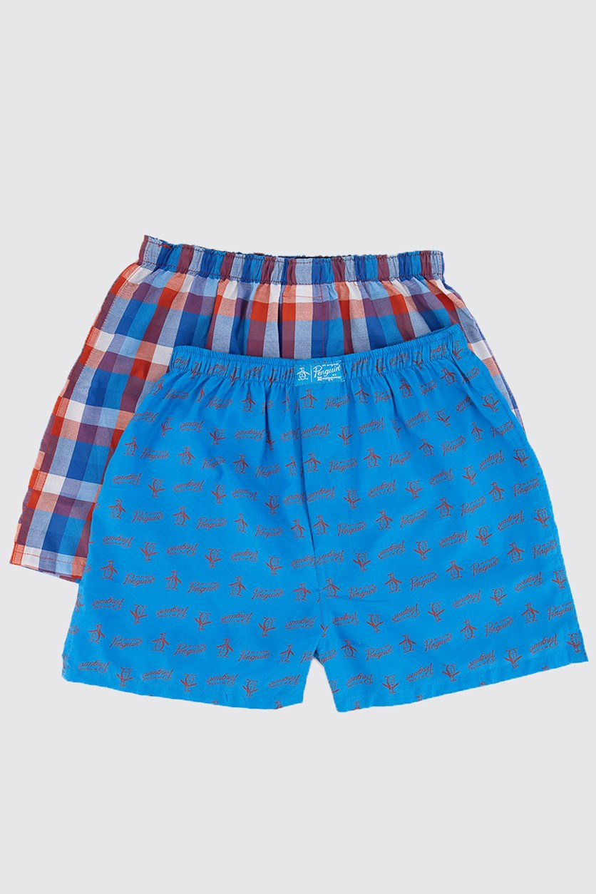 Kids Boy's 2 pack Woven Boxer, Blue/Navy Stripe
