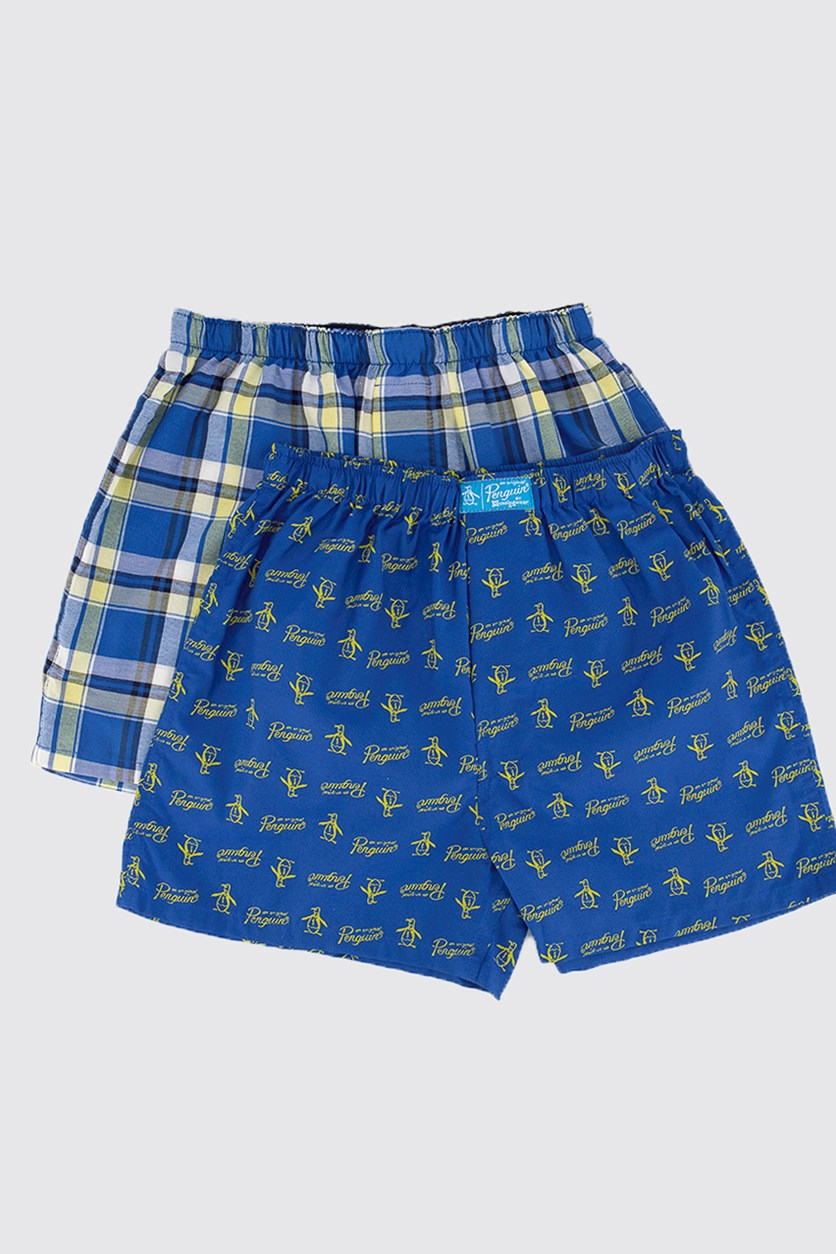 Kids Boy's 2 pack Woven Boxer, Navy/Blue Stripe