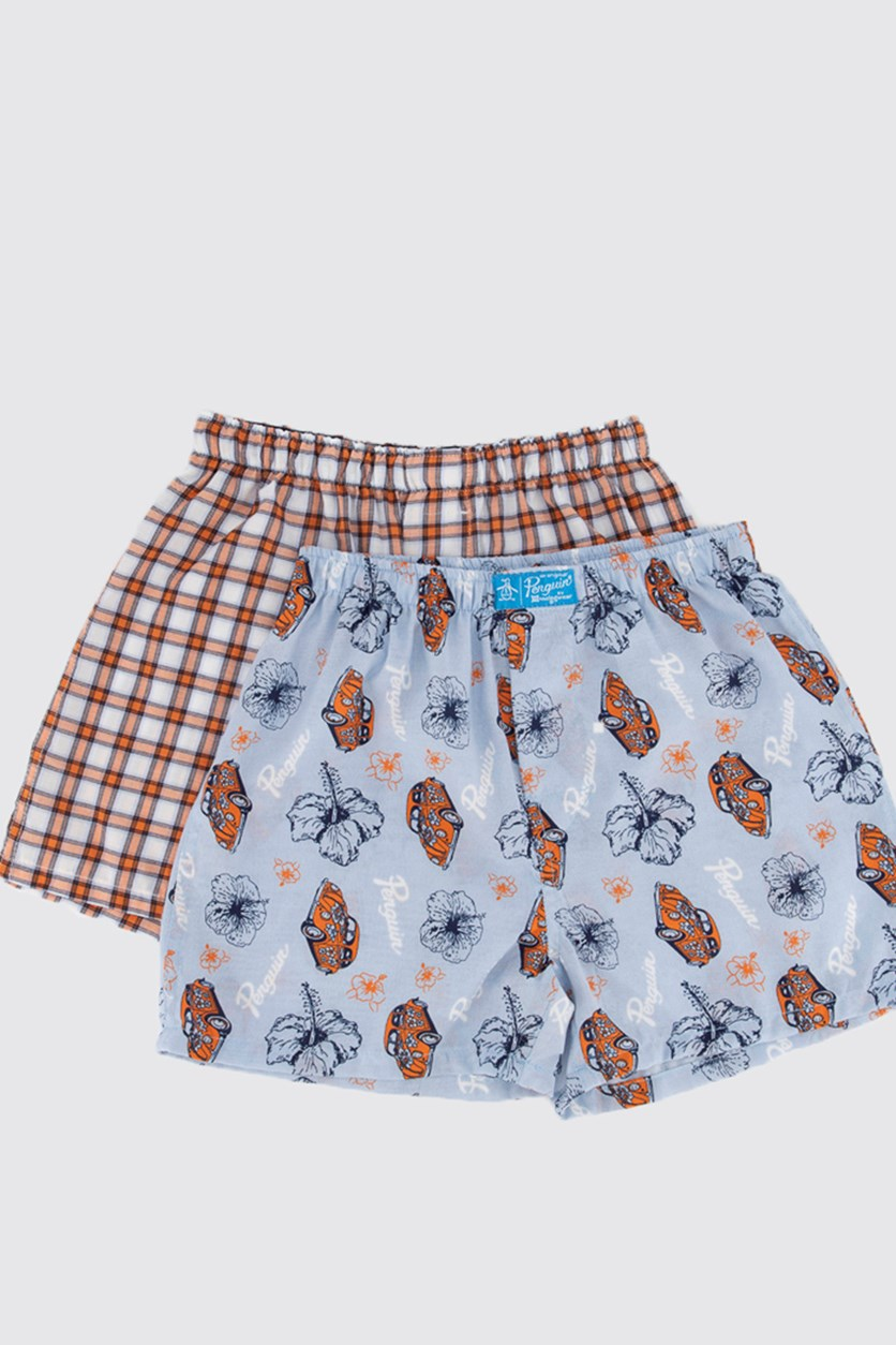 Kids Boy's 2 Pack Boxer, Blue/Orange