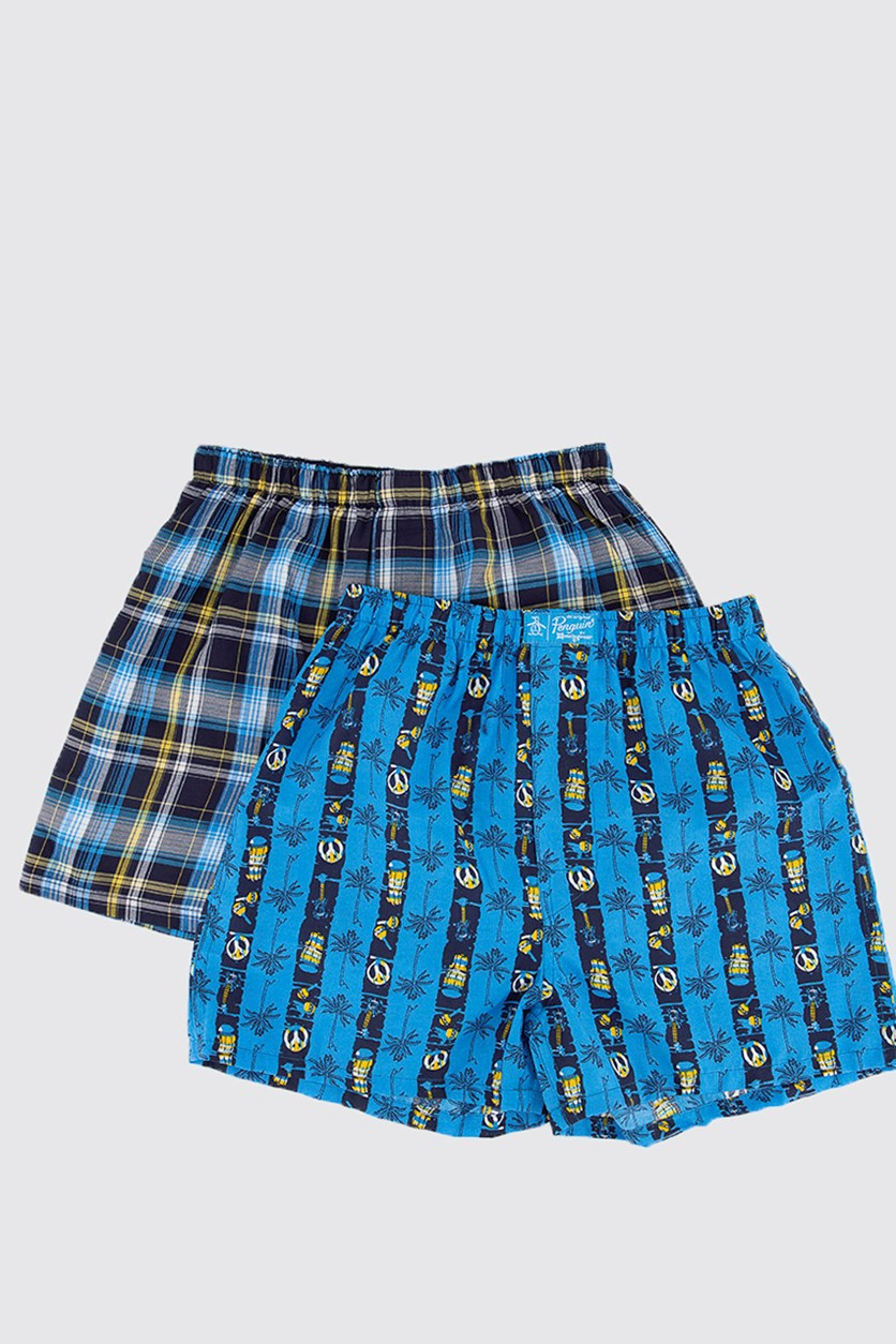 Kids Boy's 2 pack Woven Boxer, Blue/Navy