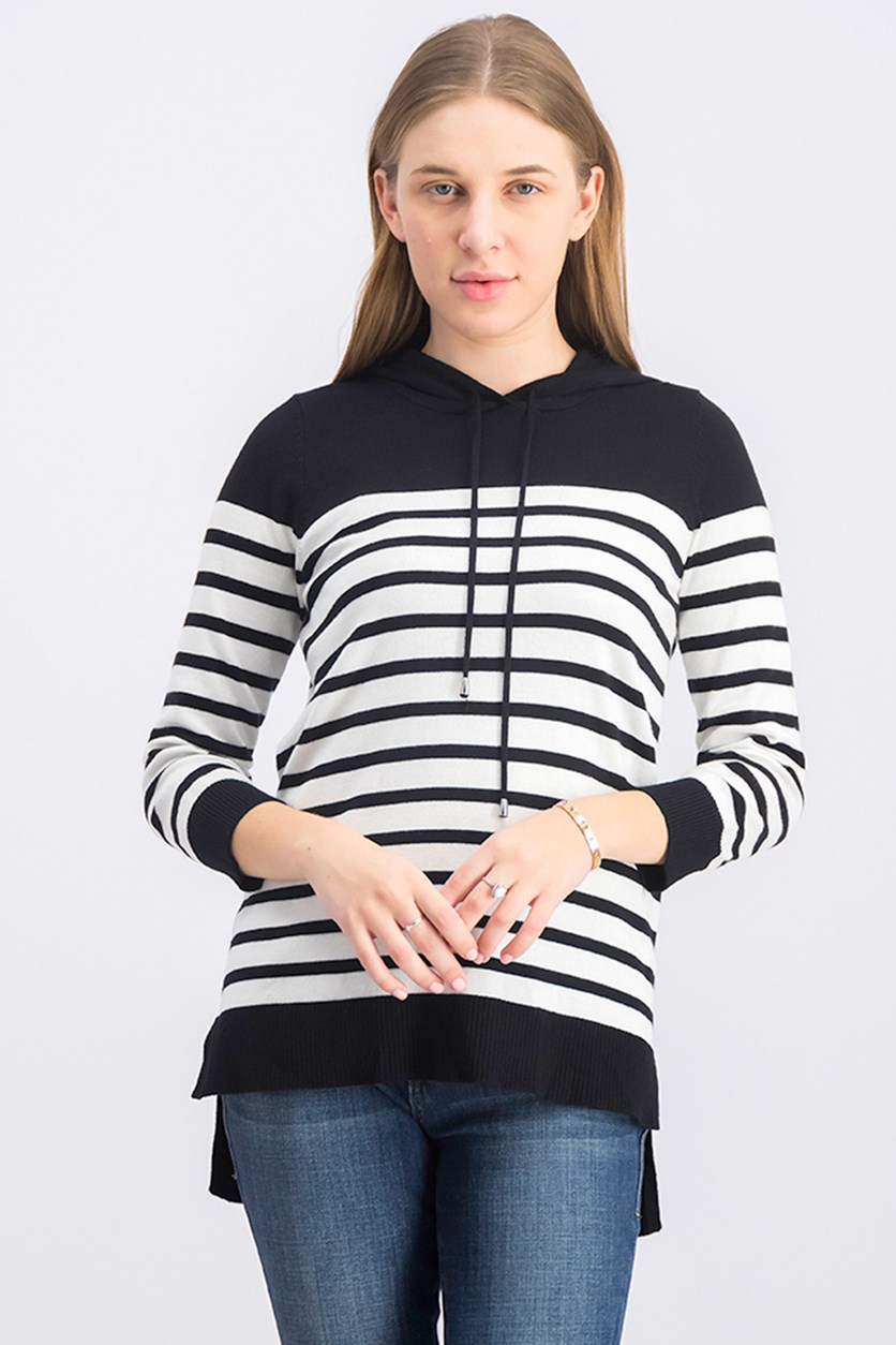 Women's Drawstring Colorblocked Sweater, Black/Bone