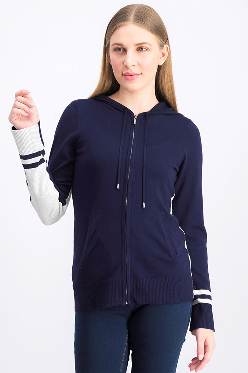 Women's Full Zip Hoodie, Navy/Grey