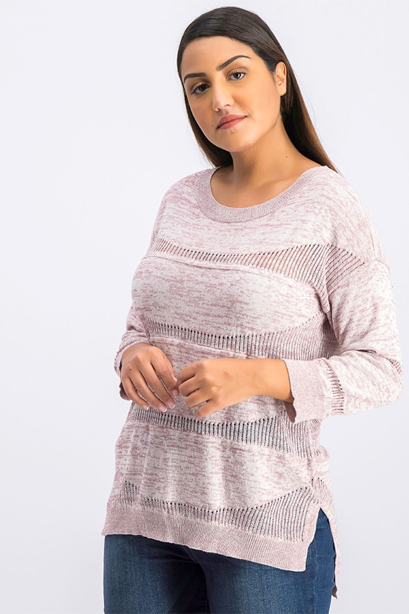 Women's Textured High Low Sweater, Light Burgundy Heather