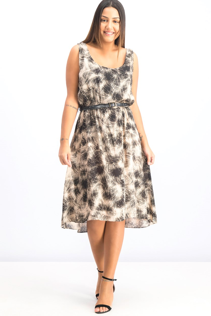 Women's Belted Printed Dress, Black/Beige