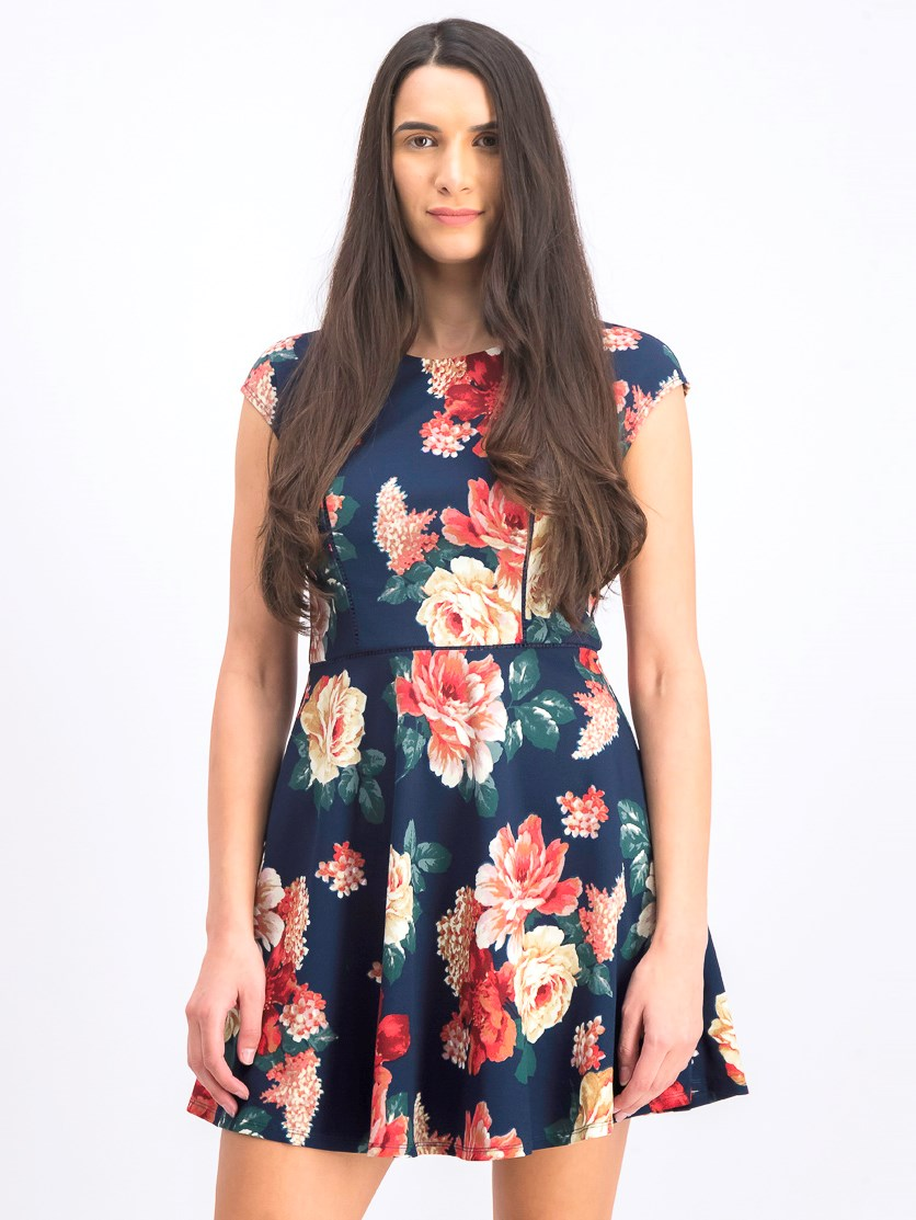 Womens Navy Floral Print Cap Sleeve Mini Dress, Navy Combo