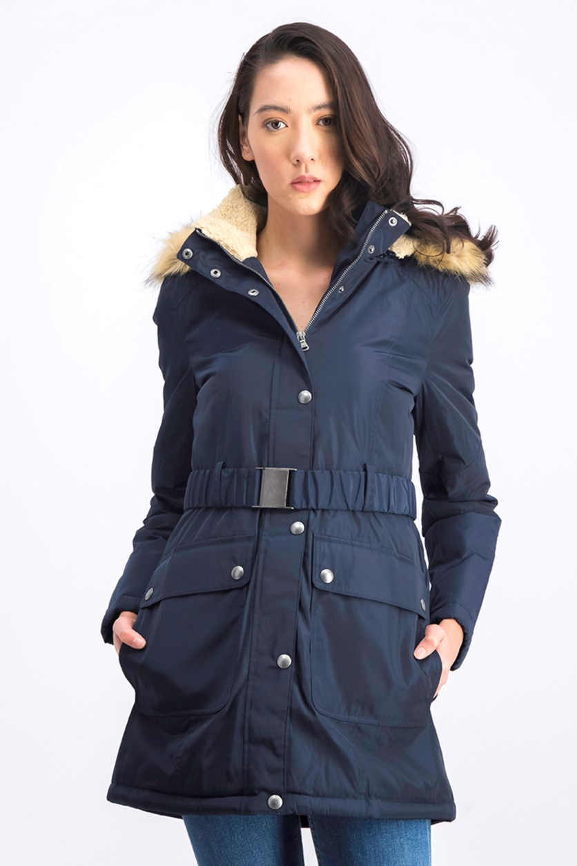 Women's Parka Jacket with Belt Removable Faux Fur Hood, Navy Blue