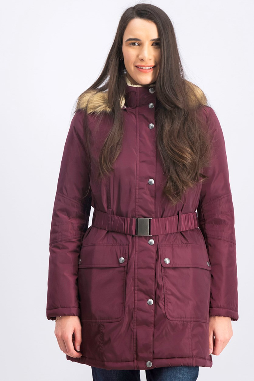 Women's Fur Jacket,  Burgundy