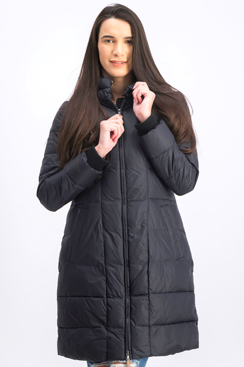 Women's Long Box-Quilted Parka, Black