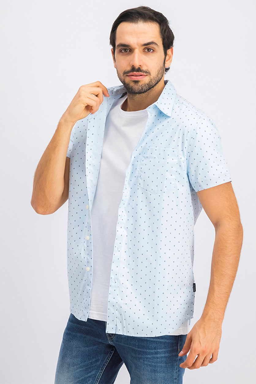 Men's Short Sleeve Casual Shirt, Dusty Blue