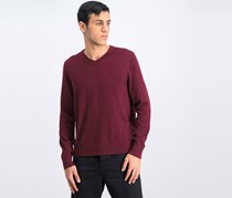 Men's Jersey V-Neck Sweater, Royal Burgundy
