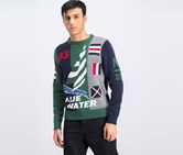 Mens Intarsia 83 Ribbed Knit Graphic Sweater, Green/Navy
