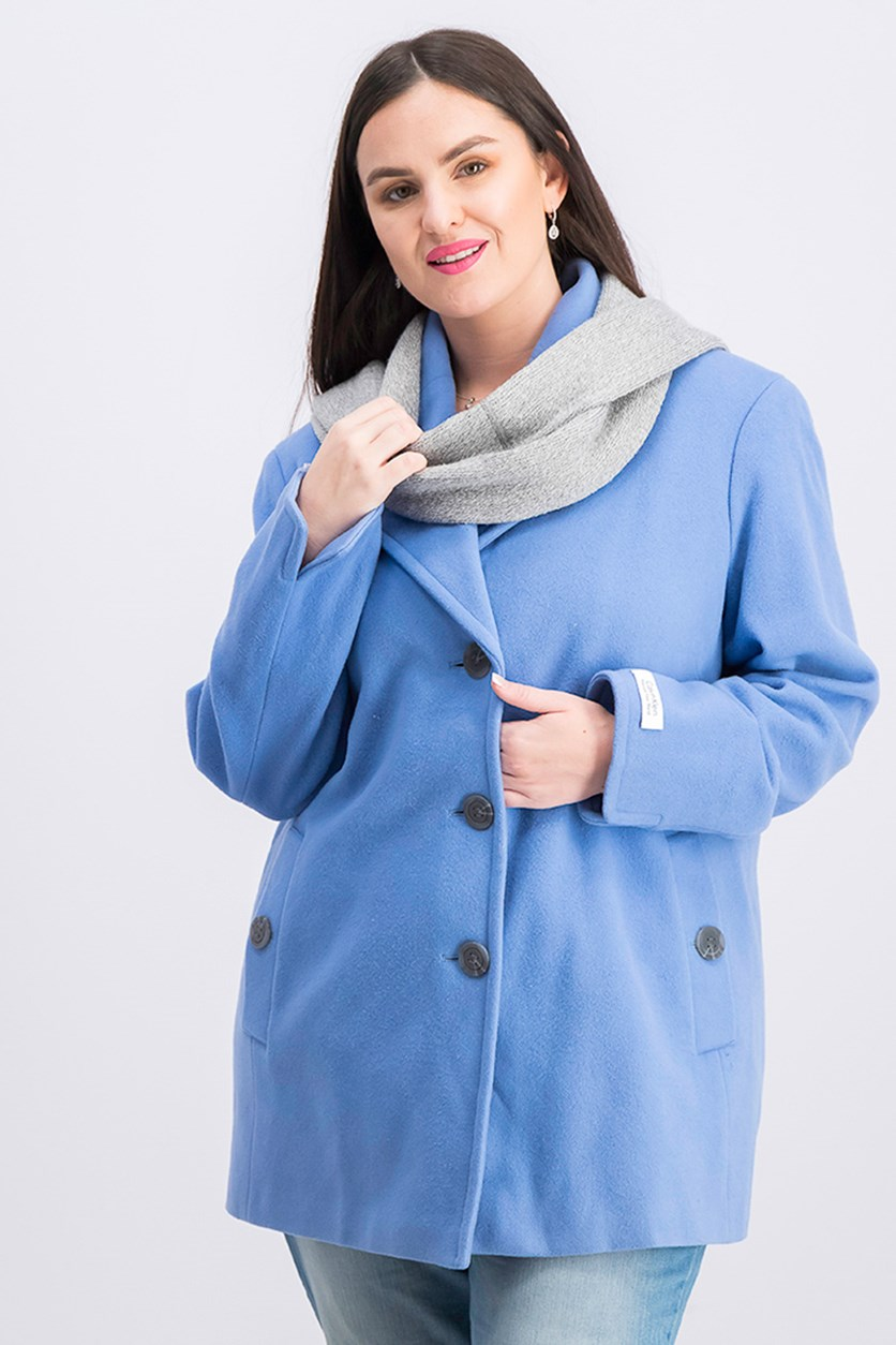 Plus Size Wool-Blend Single-Breasted Peacoat, Blue