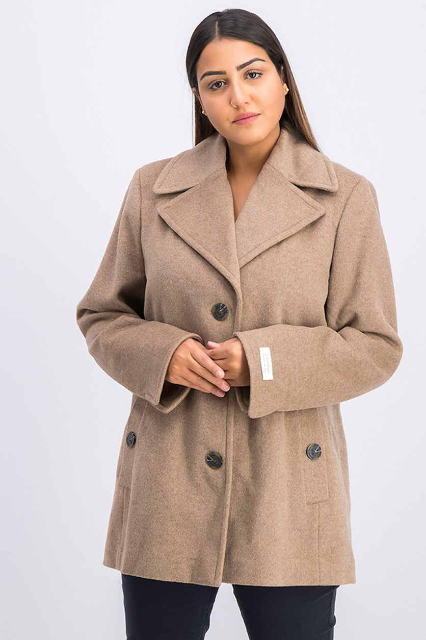 Wool-Cashmere Single-Breasted Peacoat, Tan