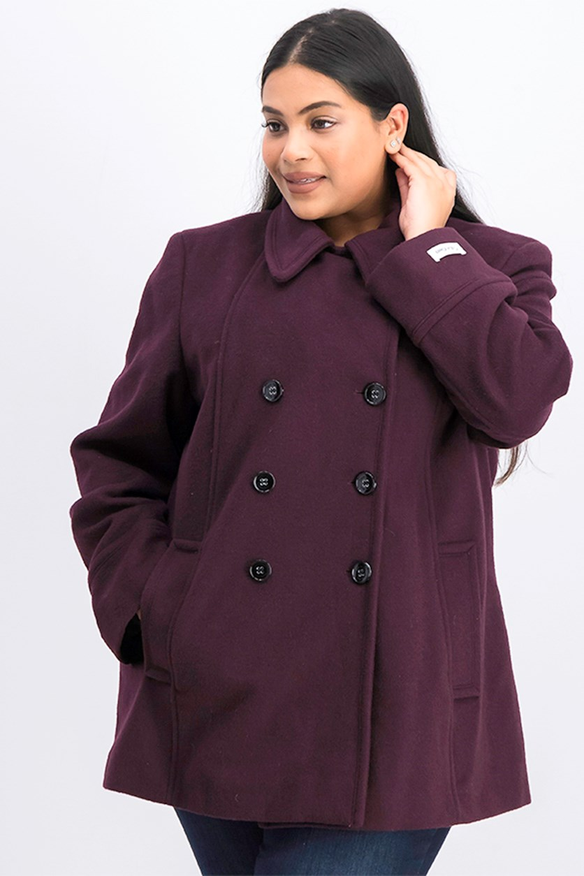 Plus Size Double-Breasted Peacoat, Black/Plum