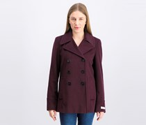 Women's Double-Breasted Peacoat, Plum