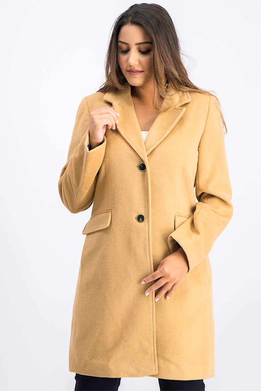 Single Breasted Peacoat, Camel