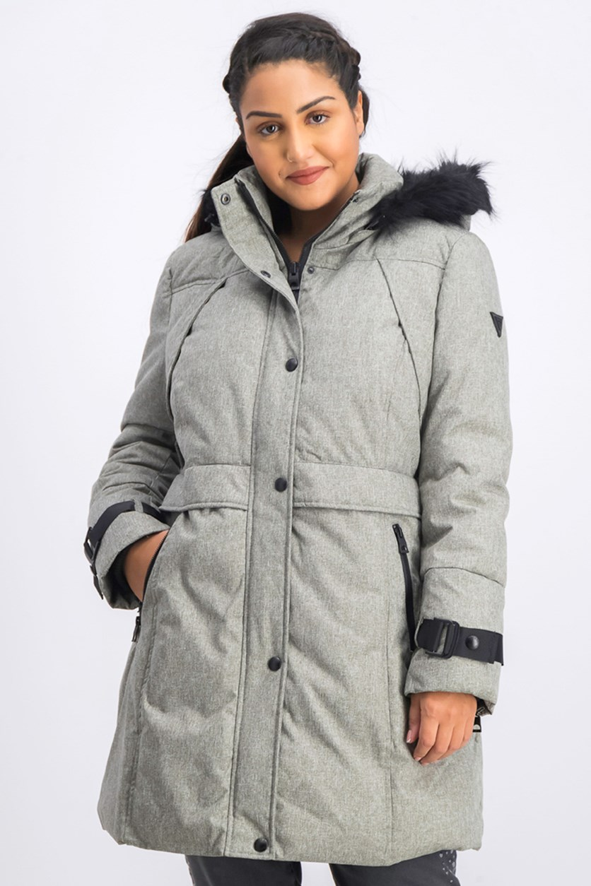Women's Faux Fur Trim Hooded Parka Coat, Gray Melange