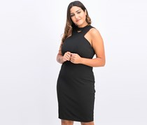 Women's Crisscross Halter Dress, Black
