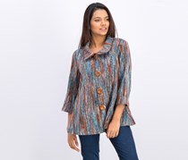 Women's Petite Button Down Sweater, Teal/Brown Combo