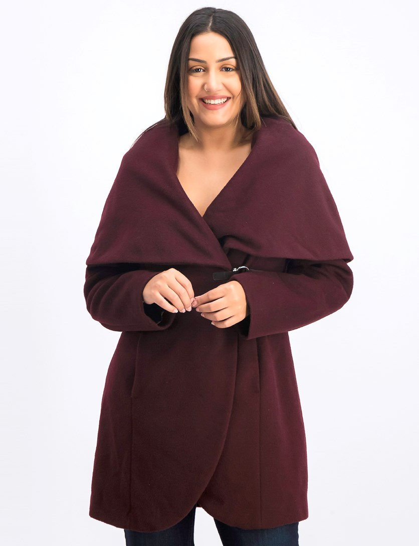 Shawl-Collar Asymmetrical Buckled Coat, Dark Burgundy