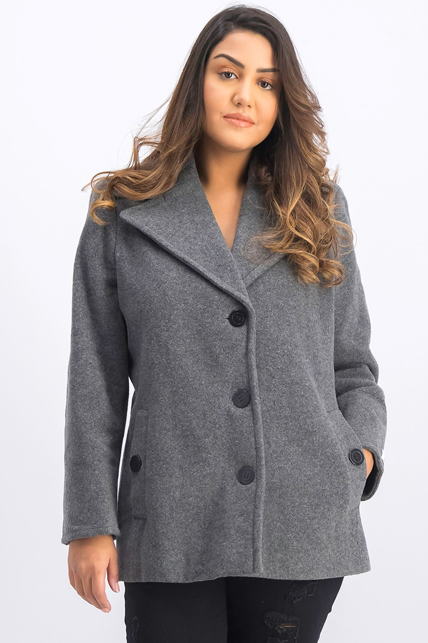 Petite Wool-Cashmere Single-Breasted Peacoat, Grey