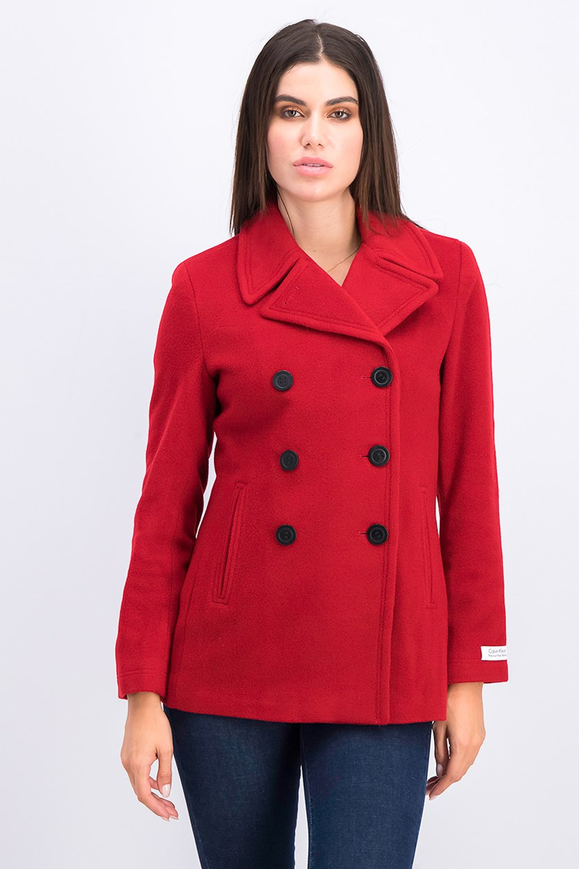Wool-Cashmere Double-Breasted Peacoat, Red
