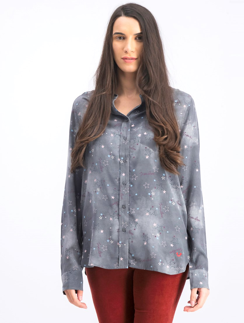 Women's Long Sleeve Blouse, Dark Grey