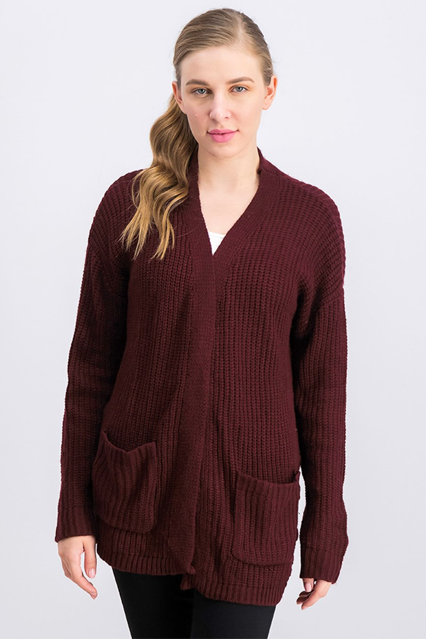 Juniors' Long Knit Cardigan, Burgundy