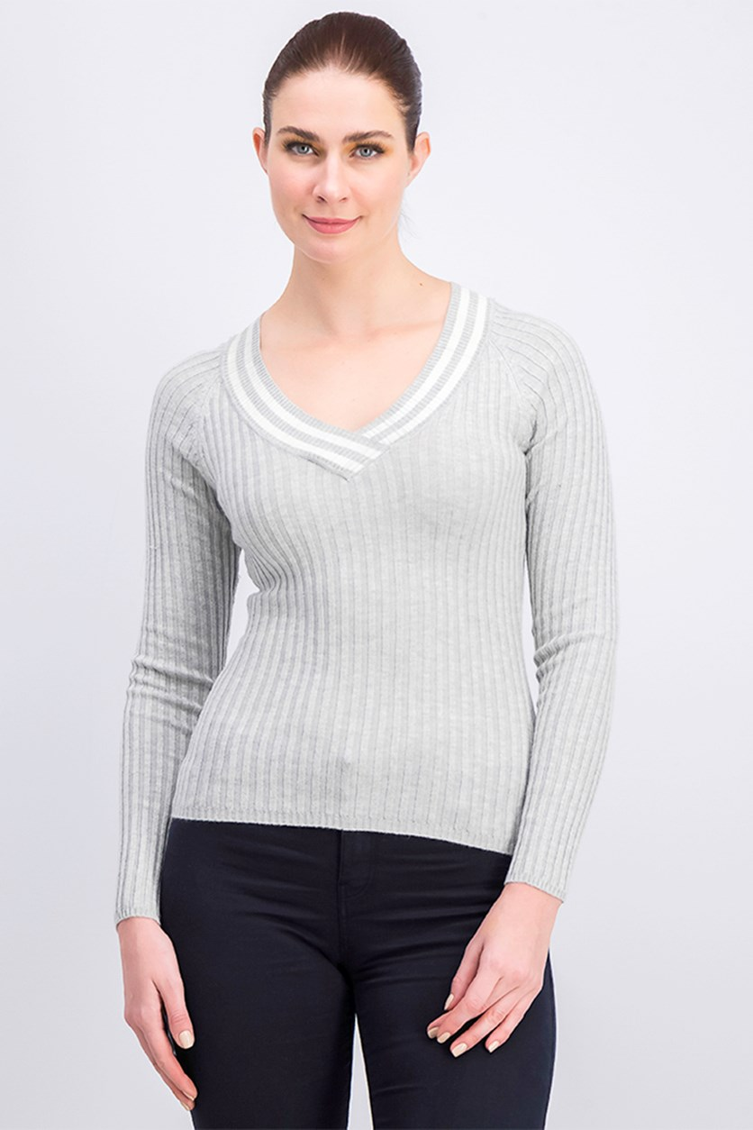 Women's Long Sleeve Ribbed Tops, Gray