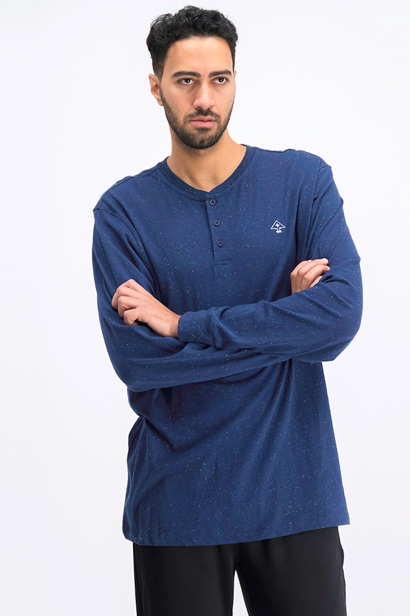 Men's Fleck Henley Shirt, Navy Combo