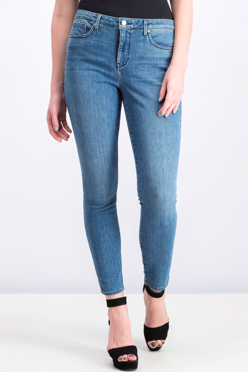 Women's Embroidered Stretch Skinny Jeans, Blue