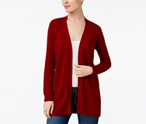 Karen Scott Women's Cotton Open-Front Cardigan, Maroon