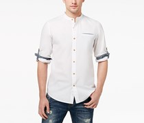American Rag Cie Men's Banded Collar Shirt, Bright White