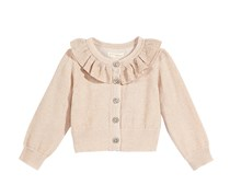 First Impressions Girl's Metallic Ruffle-Neck Cardigan, Cream Shell