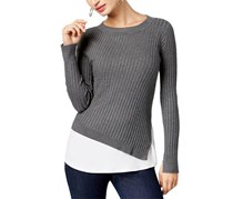 INC Womens Long Sleeves Layered Sweater, Grey/White