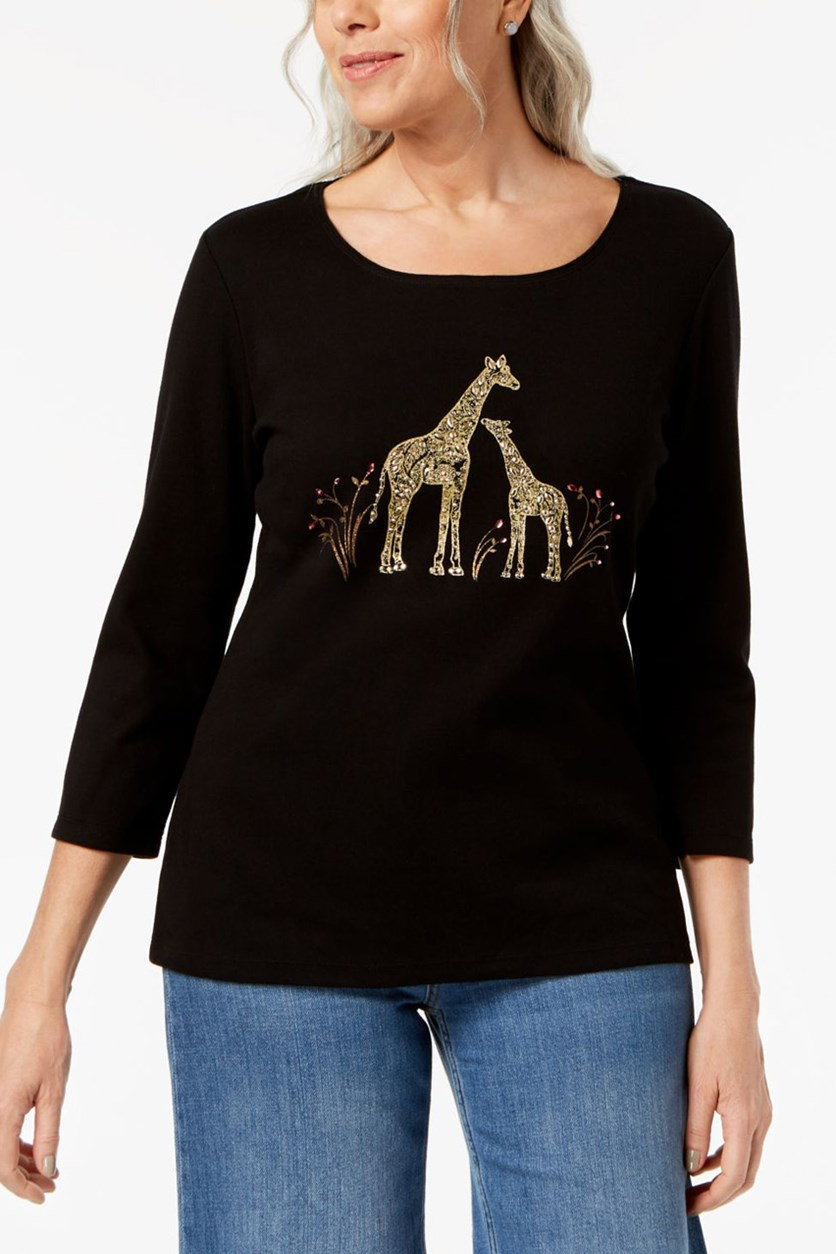 Cotton Embellished-Giraffe Top, Black