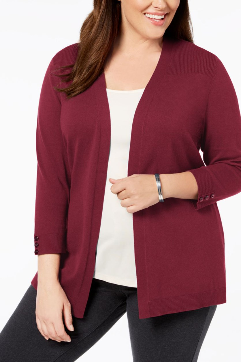Women's Plus Size Cowl-Neck Cardigan, Merlot