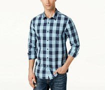 American Rag Mens Cotton Plaid Button-Down Shirt, Blue