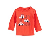 First Impressions Baby Boys Cars-Print Cotton T-Shirt, Orange