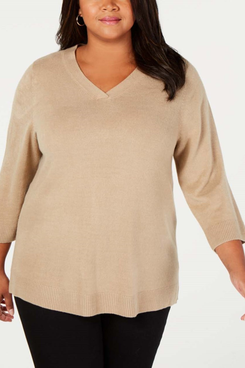 Plus Size V-Neck 3/4-Sleeve Sweater, Chestnut Heather