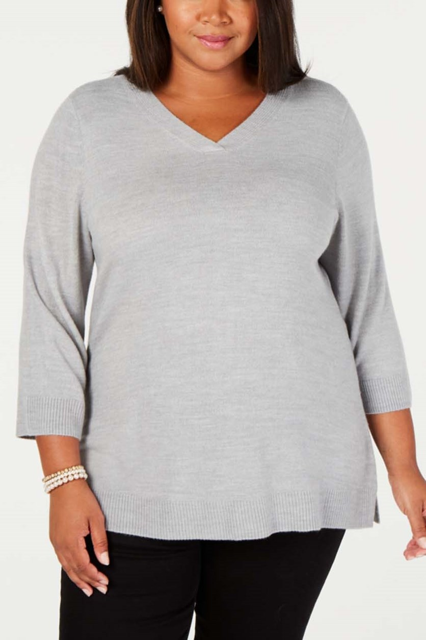 Plus Size V-Neck 3/4-Sleeve Sweater, Gray