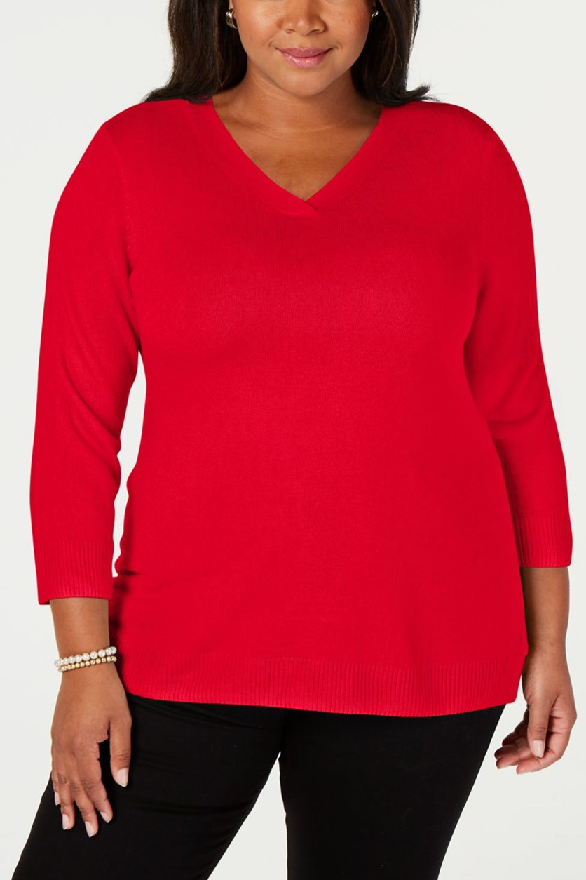 Women's Plus Size V-Neck Ribbed Pullover Sweater,  New Red Amore