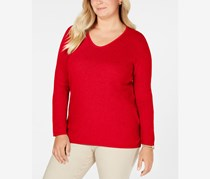 Women's Plus Cotton Scoop Neck Tunic Sweater, New Red Amore